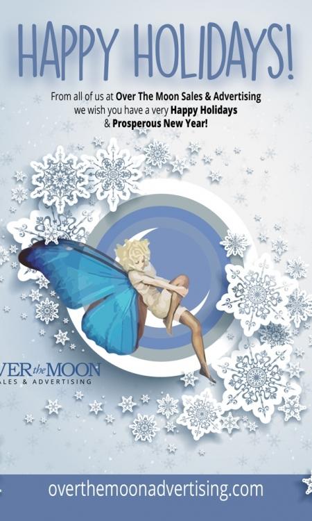 Christmas frame on blue background